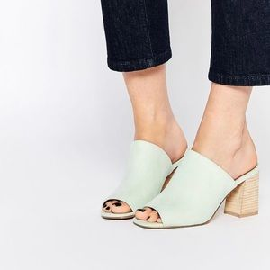 ASOS mint green block heel sandal mule